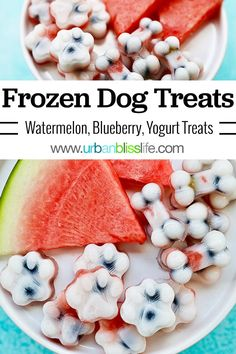 These homemade frozen dog treats are easy to make with just three healthy ingredients - watermelon, blueberries, and yogurt. Your dog will love how they taste, and you will love how easy and wholesome these are! Puppy Treats, Diy Dog Treats, Homemade Dog Treats, Healthy Dog Treats, Treats For Puppies, Homemade Recipe, Dog Biscuit Recipes, Dog Food Recipes, Diy Pet