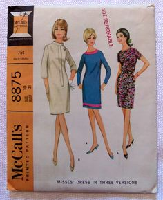 1960s McCall's 8875 Vintage Sewing Pattern Misses' Dress Size 10  Dress B!
