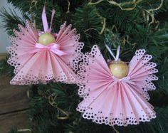 Pink Angel Christmas Ornament U-Pick Trim Color Pink Paper Ribbon Angel Christmas Ornament. (Make with vellum)