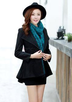 Winter Wool blends Trench Coat Long Sleeve Warm Woolen Jacket Blazer Coat
