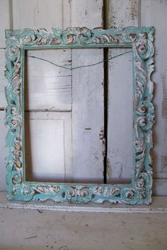 Ornate large frame seafoam green and white by AnitaSperoDesign, $150.00