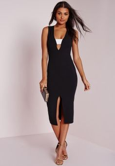 Contrast Band Midi Dress Black
