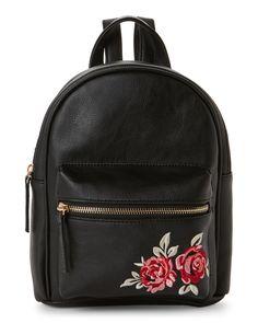 Omg! Accessories Rose-Embroidered Mini Backpack Cute Mini Backpacks, Stylish Backpacks, Girl Backpacks, Backpack Purse, Leather Backpack, Fashion Backpack, Cute Purses, Girls Bags, Cute Bags