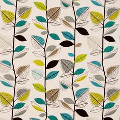 Fabric pattern: Autumn Leaves Teal, from Terry's Fabrics. #teal #leaf