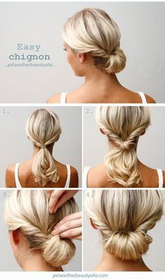 Twisted, folded updo on medium length hair. // Coiffure attachée sur cheveux mi-longs, blonds.