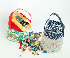 Lego Fabric Basket. This would make a great project bag.