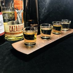Tequila Tasting Flight – Solid Walnut 4 Shot Glass Serving Tray – Can Be Personalized – 80 Days Restaurant Tequila Tasting, Whisky Tasting, You And Tequila, Recipe For Teens, Color Streaks, Tequila Shots, Tasting Table, Drink Menu, Vegetable Drinks