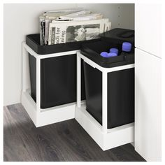IKEA UTRUSTA Pull-out waste sorting tray You can easily access the bins, as the drawer can be pulled out all the way.