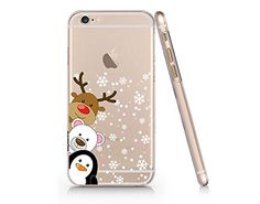 Cute Penguin, Bear and Reindeer Merry Christmas Transparent Plastic Phone Case for Iphone 6 6s^_^ Yurishop