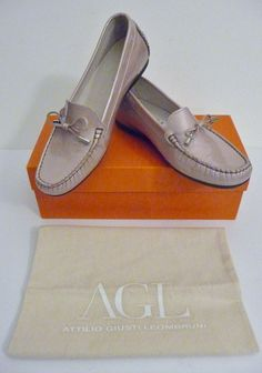 """AGL NIB Beige Patent Leather Bow """"Driving"""" Loafers Size 38.5 /8-8.5B Retail $298 #AGLAttilioGiustiLeombruni #LoafersMoccasins #Any"""