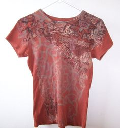 Women's Harley-Davidson Rust T-Shirt Medium Angel Floral Graphic Racine Wi #HarleyDavidson #TShirt