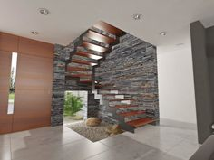 Escadas modernas, algumas vertiginosas, para valorizar a sua casa do ponto de vista arquitectónico! House Wall Design, Home Stairs Design, Modern Architecture House, Interior Architecture, Model House Plan, Modern Stairs, House Stairs, Exterior Design, Ceiling Design