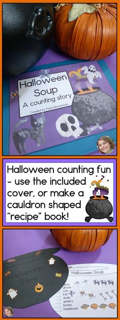 Halloween Soup is full of cats, bats, spiders, skulls and toadstools! Your preschool and kindergarten students will love to practice their counting as they put ingredients into their own recipe for Halloween Soup, and as they read and reread the class book you make from these pages! Super easy to prepare, this quickly became a class favorite! TpT $