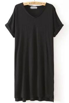 Black V Neck Short Sleeve Loose Dress