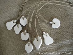 DIY white clay fruit tags
