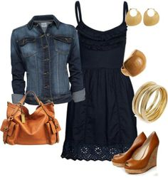 Navy dress. Jean jacket.