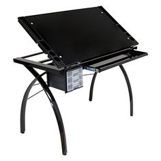"""Studio Designs Futura Craft Station Main Work Surface 38 x 24 Tempered Black Safety Glass Top Top Angle adjustment Up to 35 Degrees,24"""" Inch Slide Up Pencil Ledge https://hobbiesandcrafts.boutiquecloset.com/product/studio-designs-futura-craft-station/"""