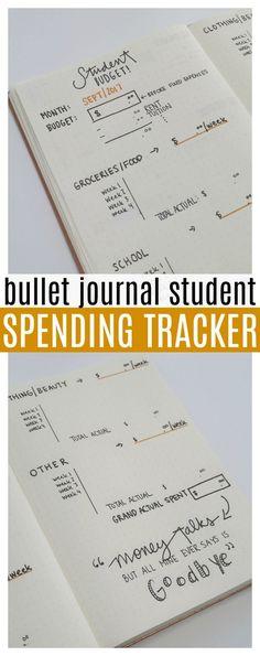 Bullet Journal STUDENT SPENDING TRACKER!