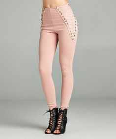 Love this Mauve Lace-Up Leggings on #zulily! #zulilyfinds