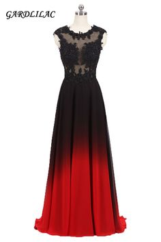03119ee9a9889 2018New Long Evening Prom Dress O-Neck Lace Appliques Top Black Red  Gradient Chiffon Ombre Party