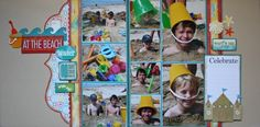 At The Beach! - Two Peas in a Bucket scrapbook layout