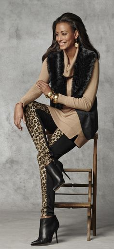 Chico's Leopard Print Legging paired with the Faux-Fur Collar Vest. I just got this whole outfit! Can't wait for the weather to be cold enough to wear it.