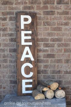 <3 | Stained Hand Painted 'Peace' Wooden Sign