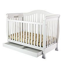 Dream On Me Addison 4-in-1 Convertible Crib with Toddler Rail and Storage - White
