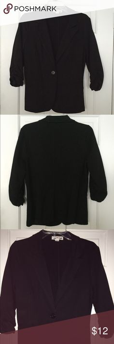 Knit blazer Black knit blazer with rouched 3/4 sleeves. It is actually size XL in juniors but fits M women Jackets & Coats Blazers