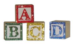Bling Alphabet ABC Wood Blocks with Swarovski Crystals Bling Blocks Home Decor and Baby Shower on Etsy, $10.00