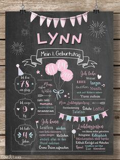 Süßes Chalkboard zum 1. Geburtstag für Mädchen