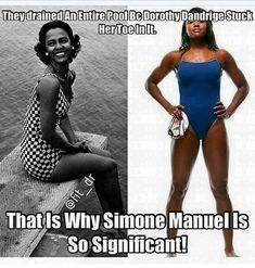 Looked this up:As for swimming-while-black-and-female . yes, there's a history to that, too. The Dorothy Dandridge tale has… Black History Facts, Black History Month, Black Girls Rock, Black Girl Magic, Simone Manuel, Kings & Queens, By Any Means Necessary, Trend Fashion, Women's Fashion
