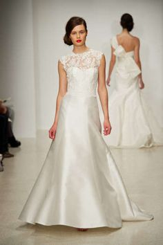 Taylor by Amsale - Silk magnolia A-line gown with lace illusion neckline bodice and keyhole back
