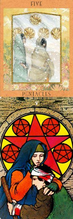 Five of Pentacles: desperation and seeing chances you can use (reverse). Goddess New Tarot deck and Morgan Tarot deck: tarotdel fuego, tarot cards vs tarotvaporesso. The best tarot cards and goth girl. #tarotmeanings #ilovemywitchyways #chariot #pentacle #hierophant