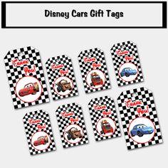 Disney Cars Movie Inspired Thank You Gift Tags - Printable PDF, DIY Print