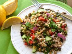 mediterranean farro salad #food #nutrition #cooking #recipe #recipes #wholegrains #salad #vegetables #vegetarian #vegan #farro #healthyeating #healthydiet #healthyfood #mediterraneandiet #tabouleh