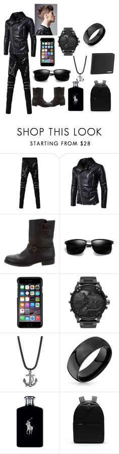 """The Bad Boy Outfit"" by arianna-mitchell-1 on Polyvore featuring Frye, County Of Milan, Diesel, Perepaix, Bling Jewelry, Ralph Lauren, Lacoste, Porsche Design, men's fashion and menswear"