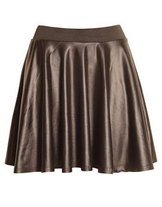 Wet Look Skater Skirt w Elasticated Belt in Black £ 4.95 #chiarafashion #wet #look #faux #leather #black #mini #skater #skirt