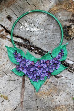 Leather necklace / Купить Колье СИРЕНЬ в цвету - фиолетовый, сиреневый, сирень из кожи, колье ручной работы