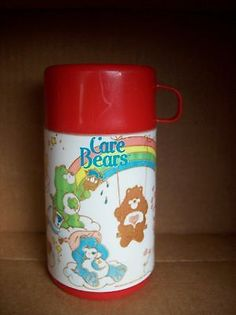 Vintage Care Bears Red Lunchbox Thermos Made by Aladdin