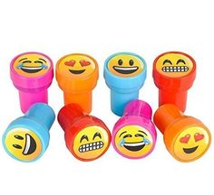 Emoji Smiley Stamps Birthday Party Supplies Loot Bag Accessories 48 Pieces per Unit - Show them how you feel with our Emoji Stampers. They're perfect for arts and crafts at school or at home. Decorate corrected paper in the classroom or greeting cards with these funny faces. Each 24 pieces comes with 4 assorted colors. Ages 5+