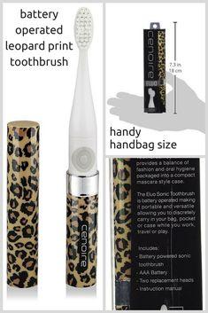 Imagine having a leopard print toothbrush in your handbag! So cool, so appropriate for a true leopardista #ad #giftidea #cheetah #animalprint