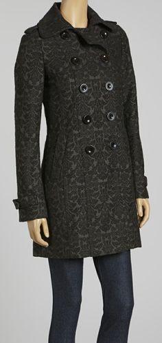Black Brocade Wool-Blend Peacoat - Women