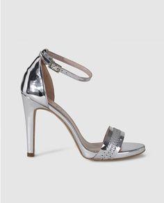 9802e39a9c7 Sandalias de tacón de mujer de Lodi de piel en color plata Zapatos Plata