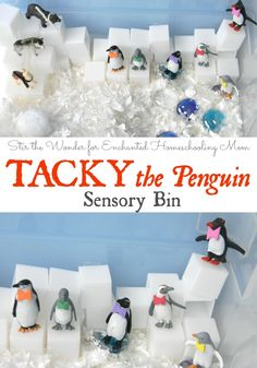This month we read Tacky the Penguin by Helen Lester and played with this adorable sensory bin!