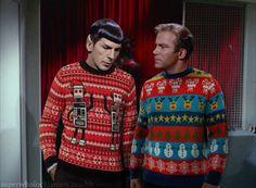 Spock & Kirk's new Christmas sweaters -- #StarTrek #StarTrekTOS #Xmas #Holidays