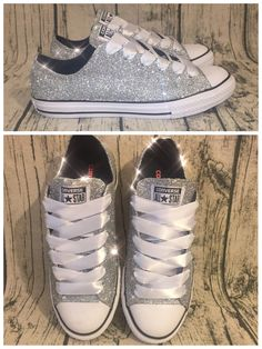 Womens Sparkly Silver Glitter Converse All Stars Chucks Sneakers Shoes. www. glittershoeco.com ... 20003fbd3a