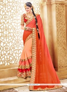 Glorious Beige And Orange Resham Work Faux Georgette Classic Designer Saree Model: YOSAR10979
