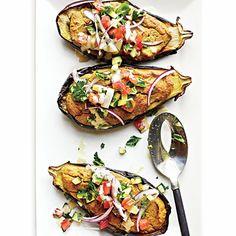 Falafel-Stuffed Eggplant with Tahini Sauce and Tomato Relish Recipe (use leftover Udi's heels for breadcrumbs)