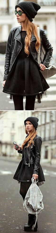 High Fashion For Winter Moto Jacket and Black Dress finished off with a beenie...x